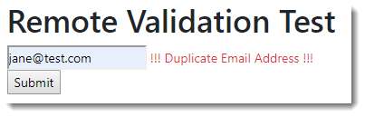 Remote Validation in Razor Pages