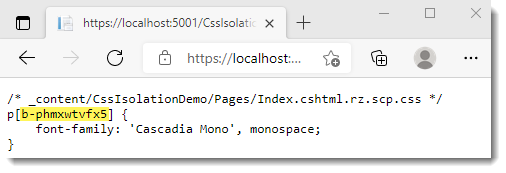 Css Isolation in Razor Pages