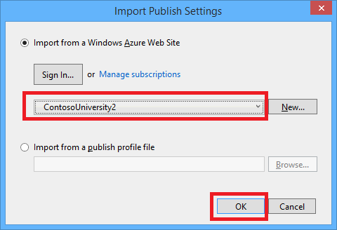 Import Publish Profile