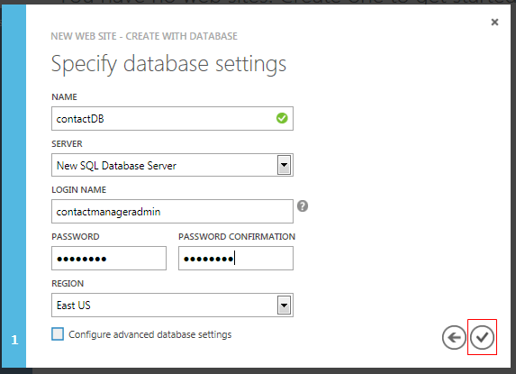 Database Settings step of New Web Site - Create with Database wizard