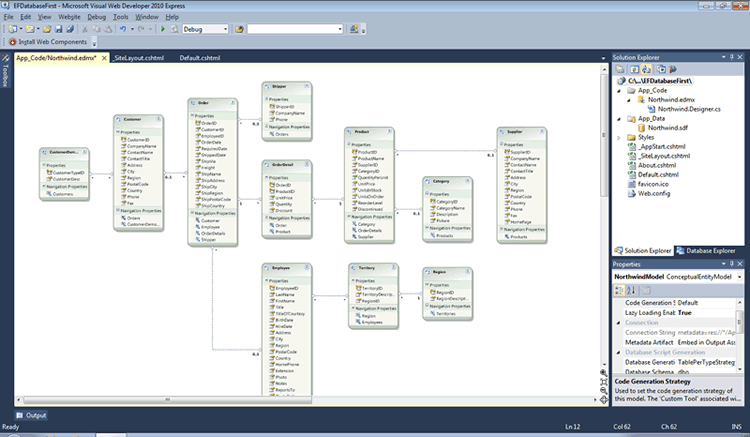 Building a razor web pages site with database first and entity framework shows the various entities in the model and how they relate to each other much like a database diagram in sql server management studio ccuart Images