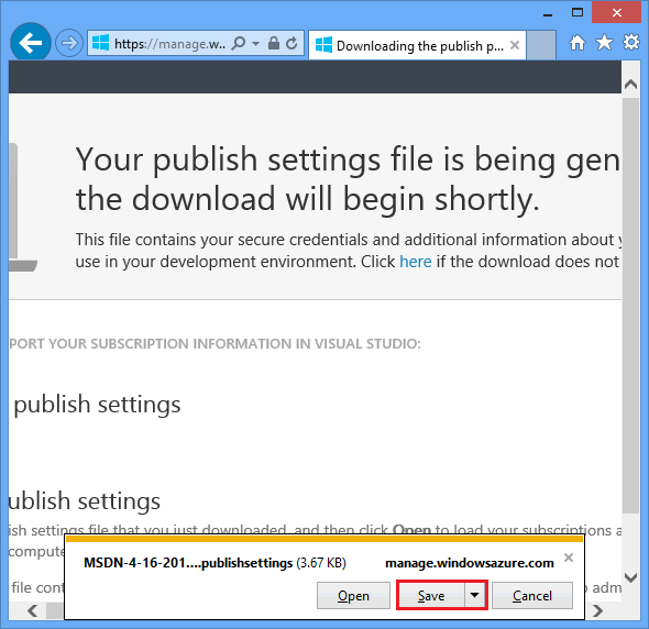 download .publishsettings file